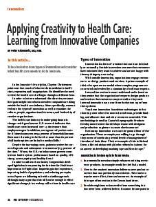 Applying Creativity To Health Care